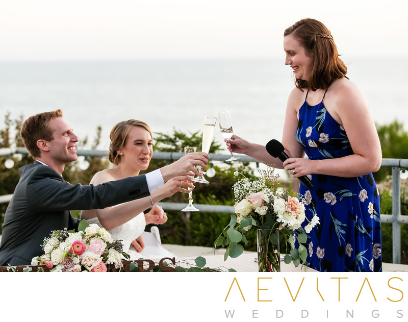 Couple toast wedding guest at Point Vicente reception
