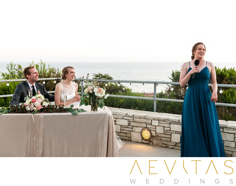 Bridesmaid speech with couple in Rancho Palos Verdes