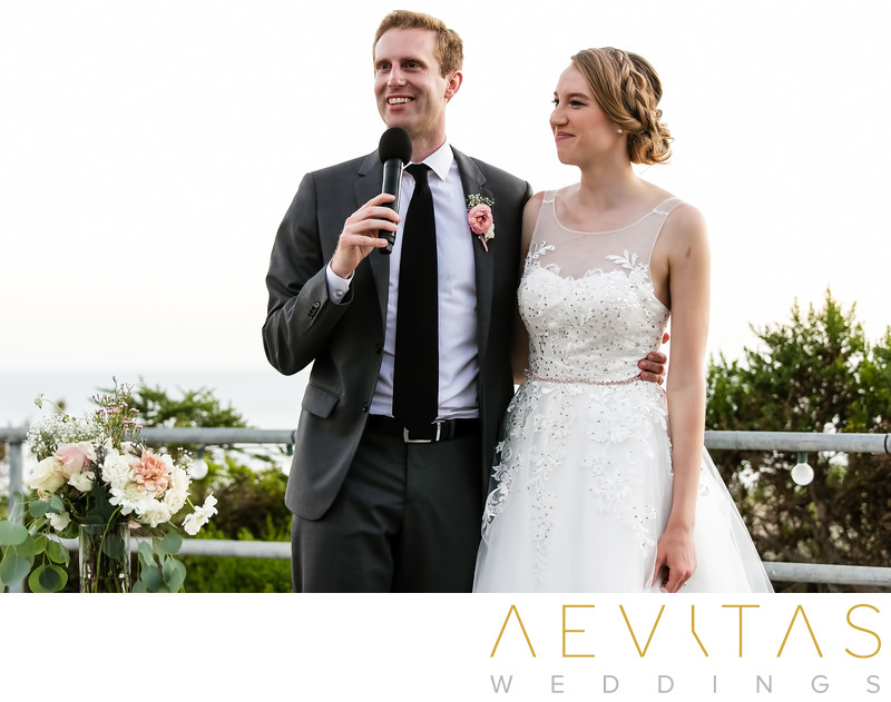 Couple thank you speech at Point Vicente wedding