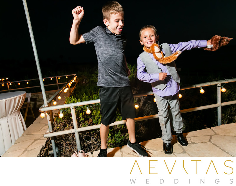 Young boys dancing at Point Vicente wedding reception