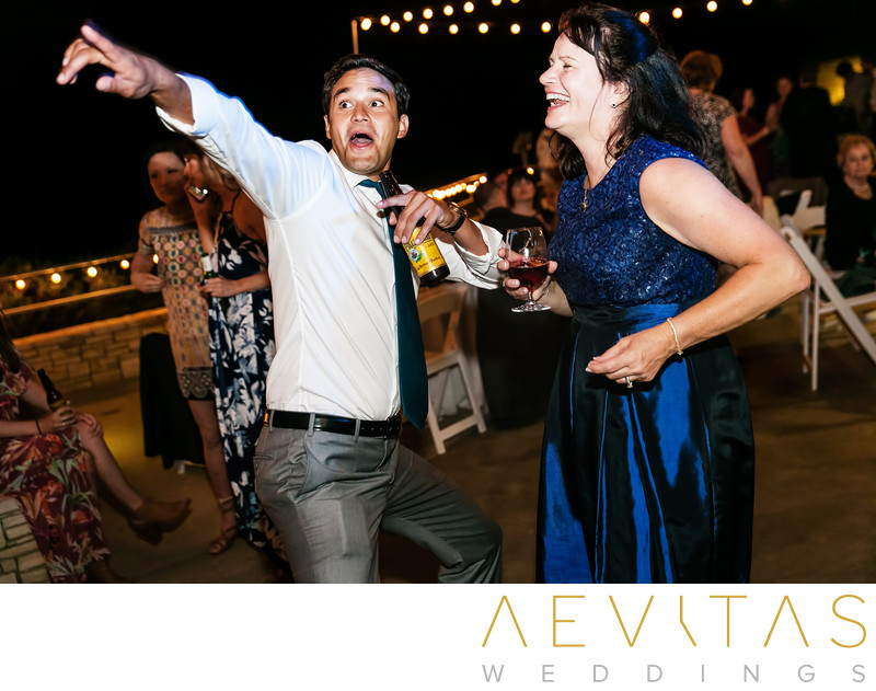Funny wedding guest dance floor photo at Point Vicente
