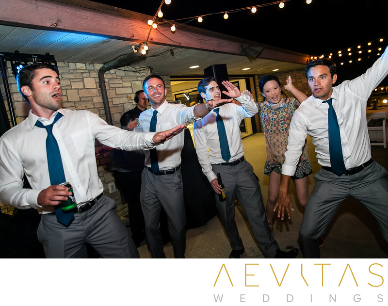 Groomsmen dancing at Point Vicente wedding reception