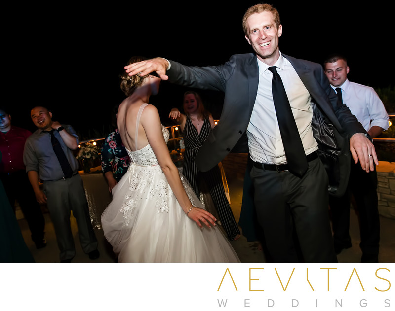 Groom dancing at Point Vicente wedding reception