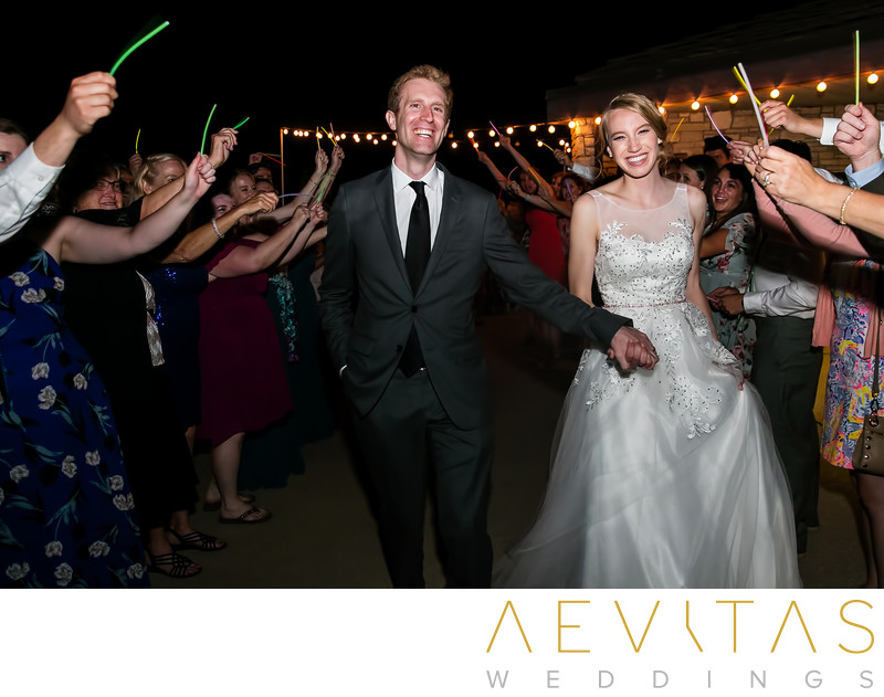 Grand sparkler exit at Point Vicente wedding reception