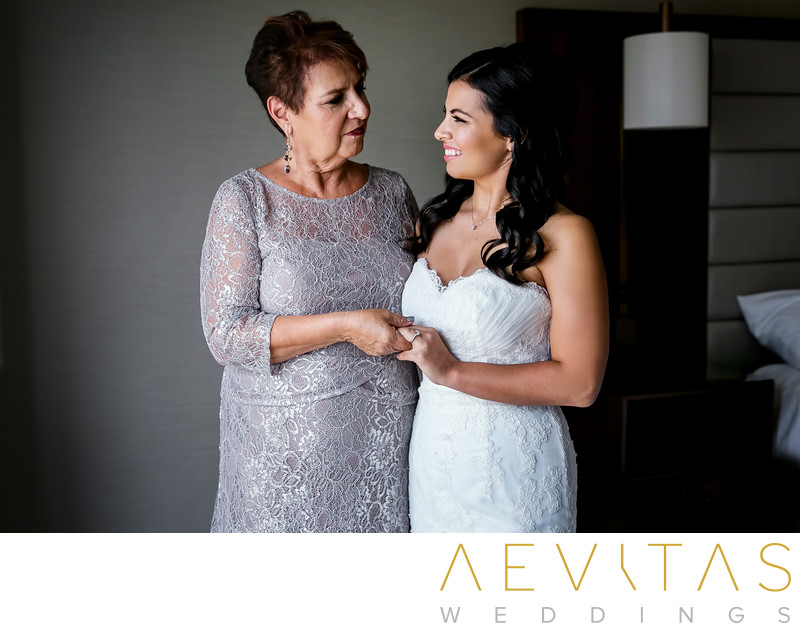 Bride portrait with mom in Glendale hotel suite