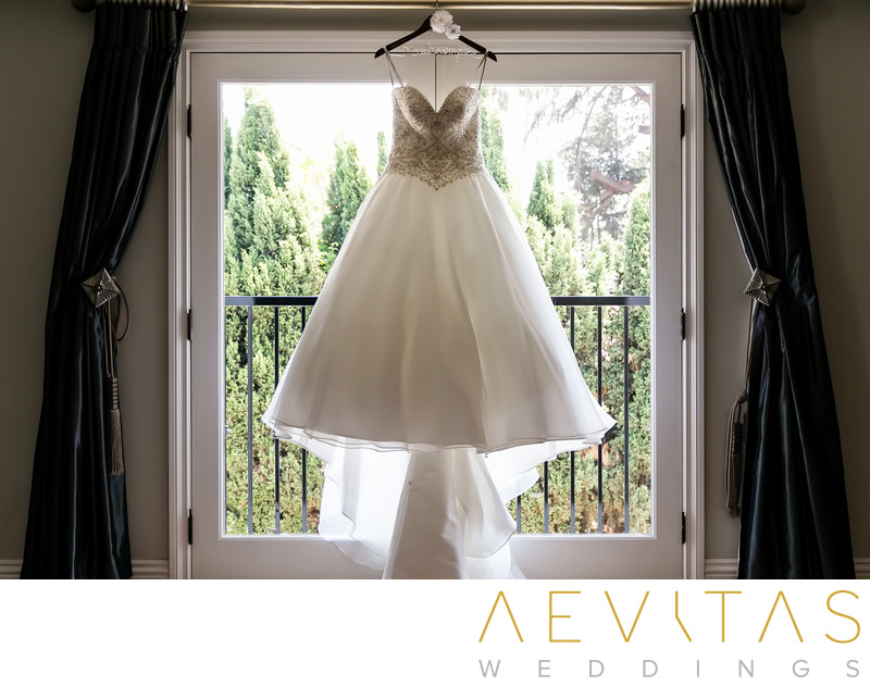 Wedding dress hanging at private LA residence