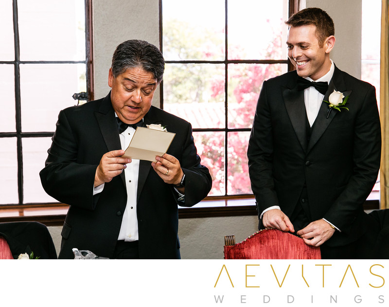 Father opening card from groom at The Ebell of LA