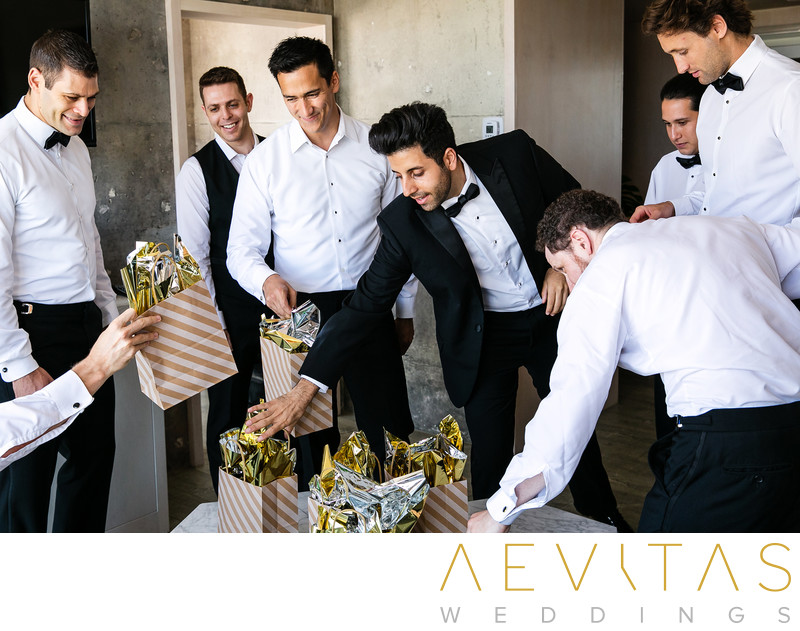 Groomsmen receiving gifts at The LINE Los Angeles