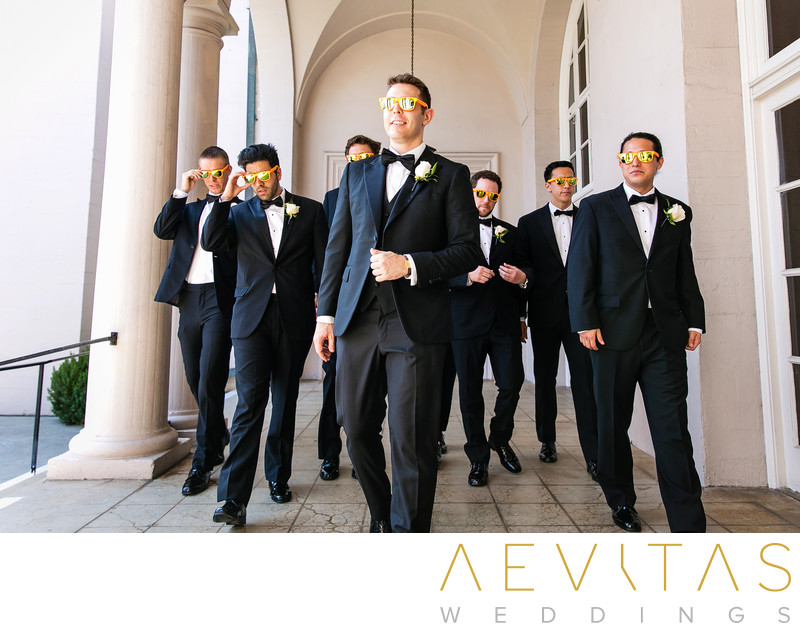 Groomsmen walking with sunglasses at The Ebell of LA