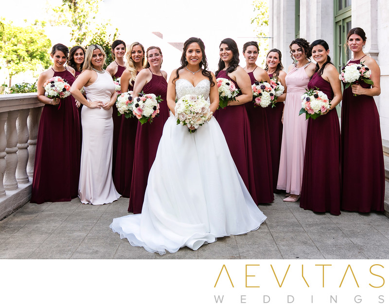 Beautiful bridal party portrait at The Ebell of LA