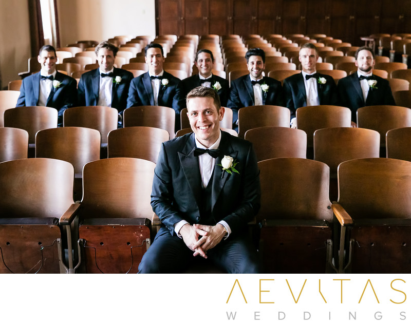 Groom and groomsmen portrait at The Ebell auditorium