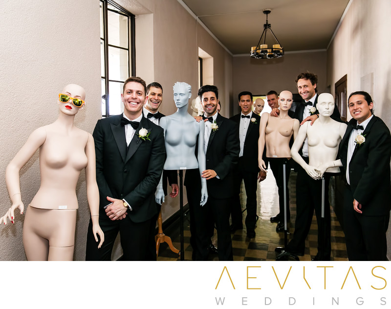 Groomsmen portrait with mannequins at The Ebell of LA