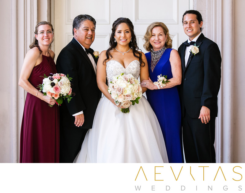 Bride with family at The Ebell of Los Angeles