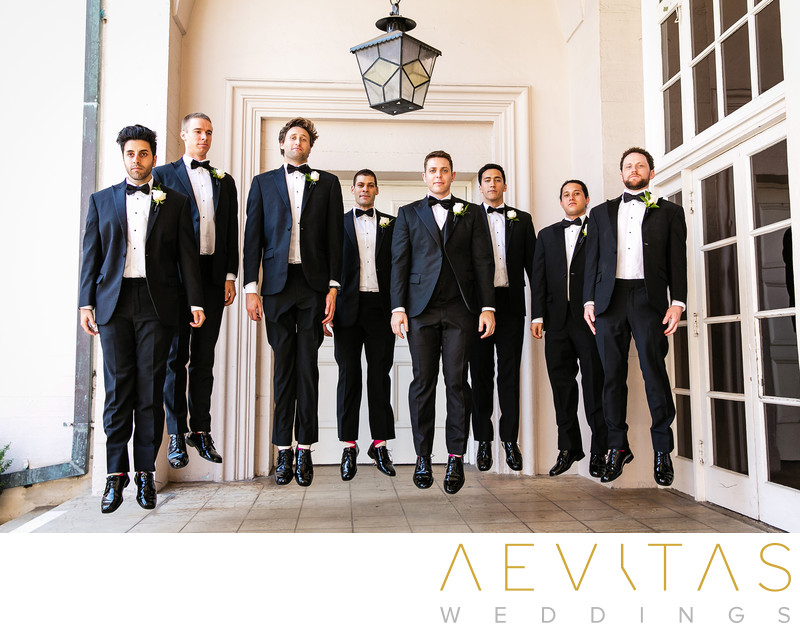 Groomsmen jumping at The Ebell of Los Angeles