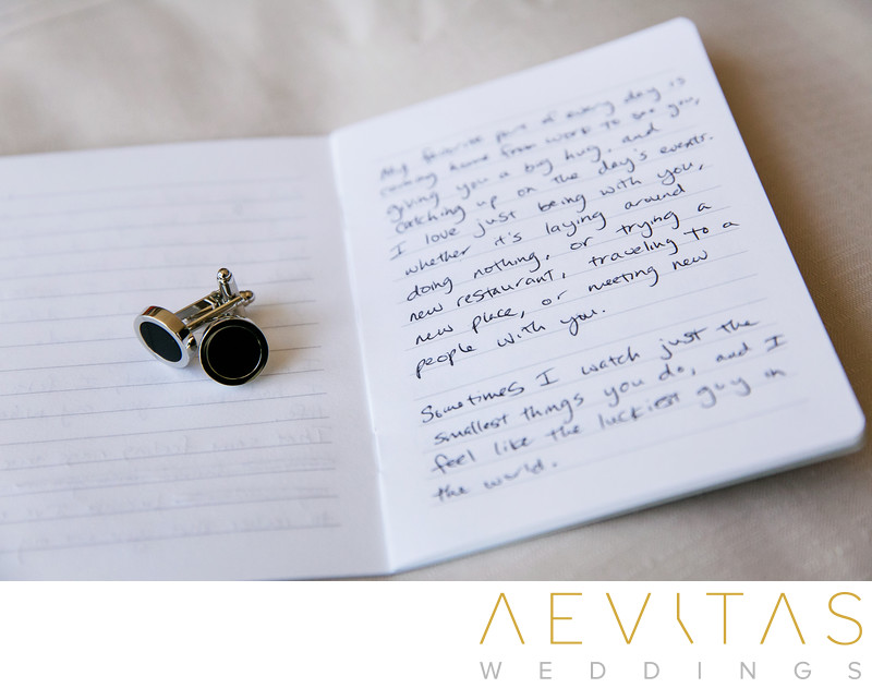 Groom's cufflinks and vows by LA wedding photographer