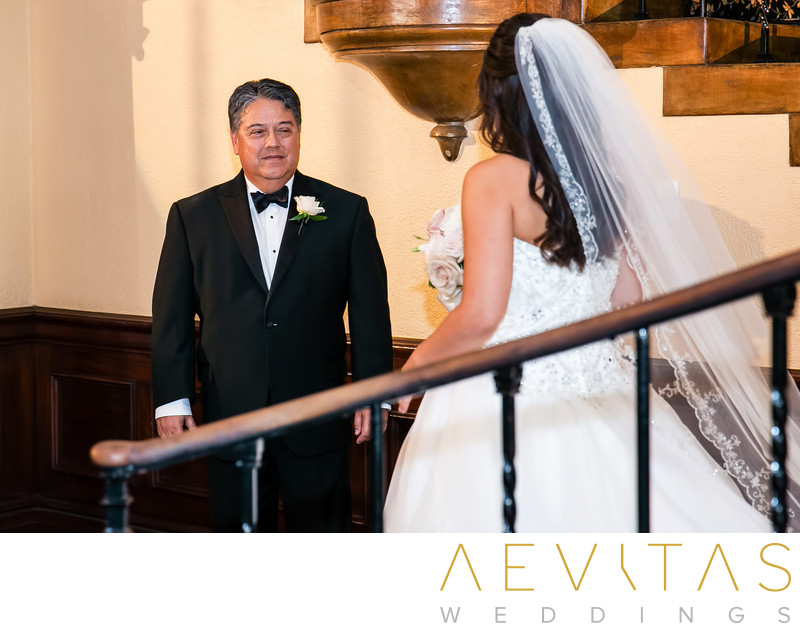 Bride walks towards dad at Ebell LA wedding ceremony
