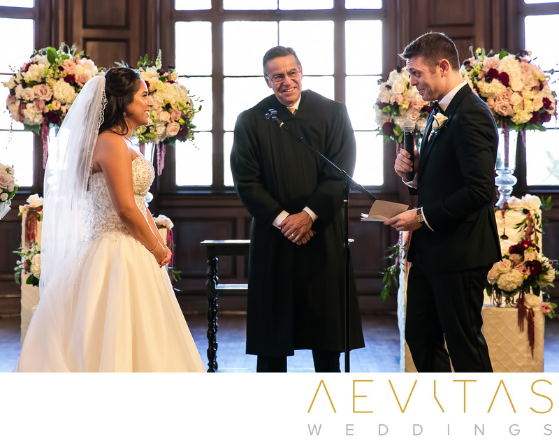 Groom reads vows Ebell of Los Angeles wedding ceremony