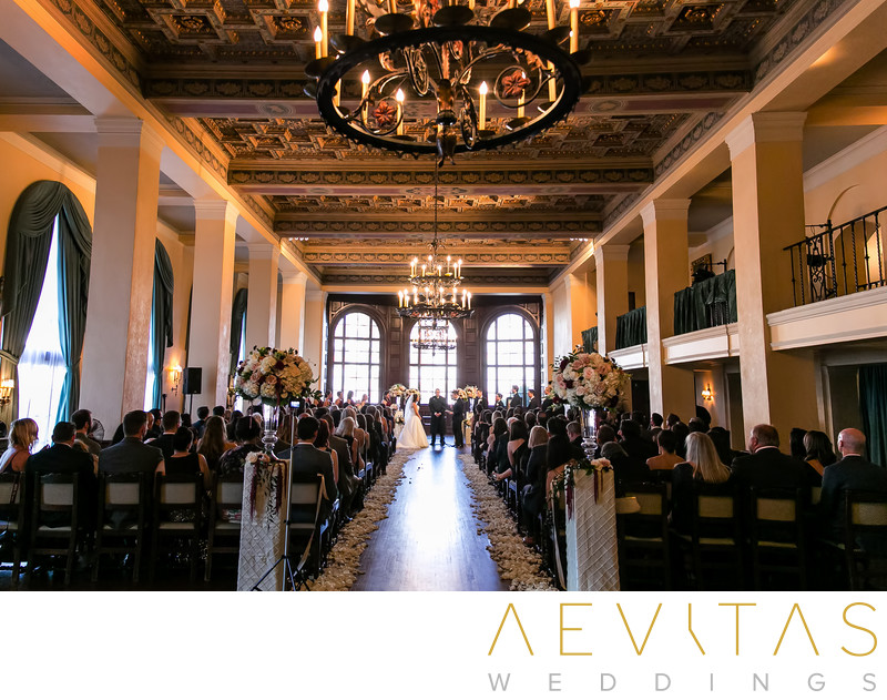 Looking down aisle at The Ebell of Los Angeles wedding