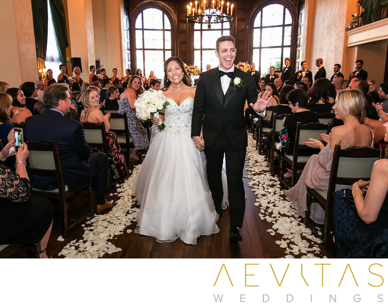 Couple recessional walk at The Ebell of Los Angeles