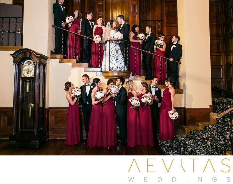 Creative bridal party portrait Ebell LA staircase