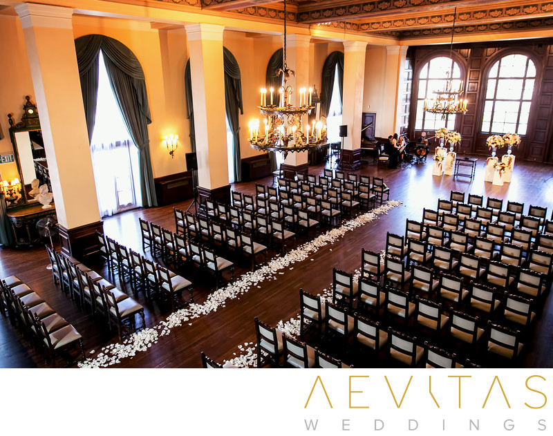 Elevated view of The Ebell of LA wedding ceremony venue