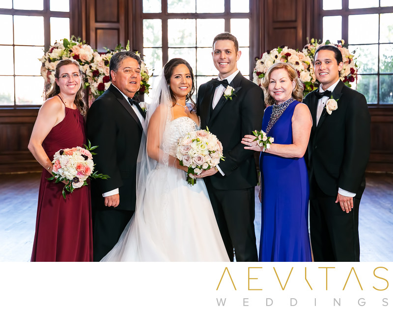 Couple with bride's family Ebell Los Angeles ballroom