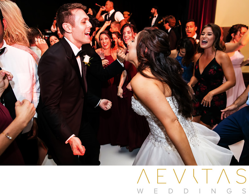 Action shot of couple dancing at Ebell LA reception