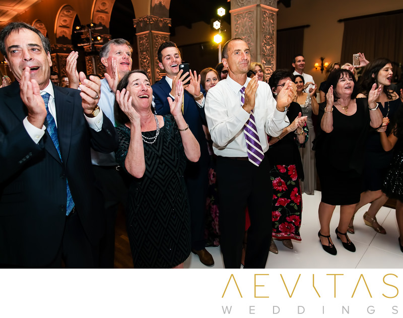 Wedding guests clapping at Ebell Los Angeles reception