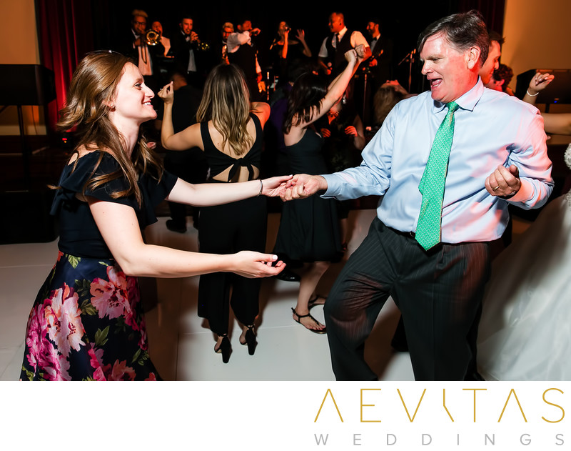 Fun wedding guest dancing photo at The Ebell of LA