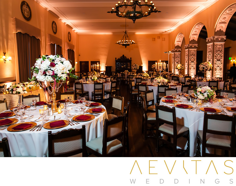 Wedding reception at The Ebell of Los Angeles ballroom