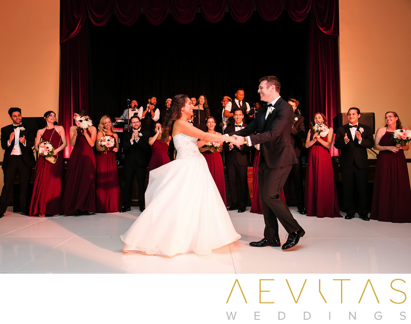 Couple first dance with bridal party Ebell Los Angeles