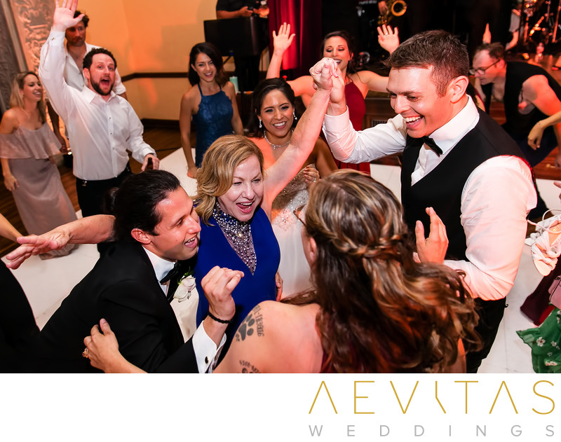 Groom dancing with bride's family at The Ebell of LA