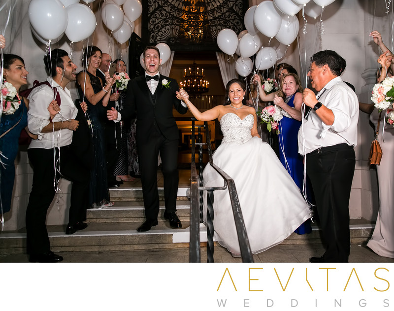 White balloon grand exit at Ebell LA wedding reception