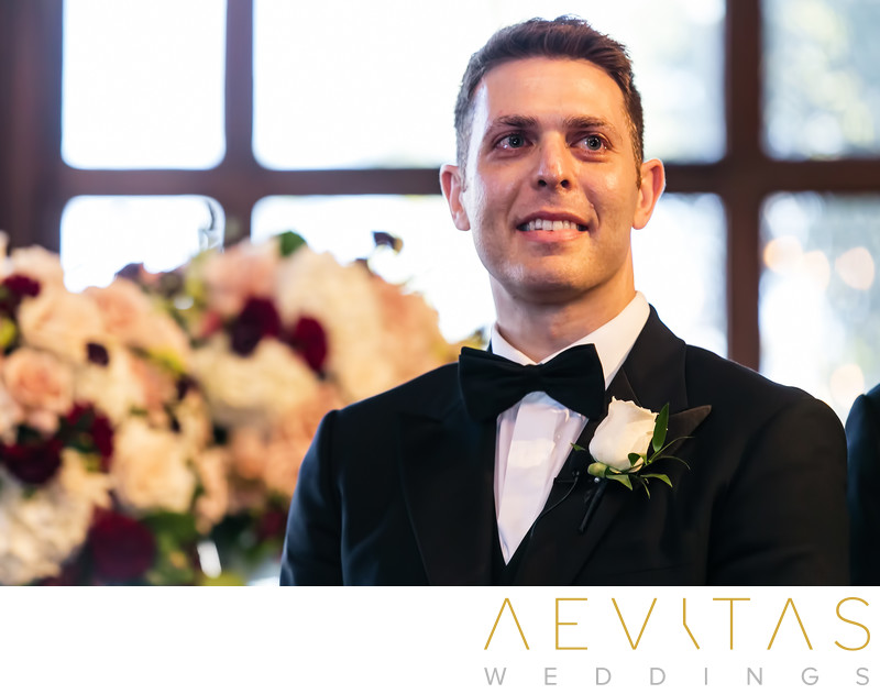 Groom reaction at Ebell Los Angeles wedding ceremony