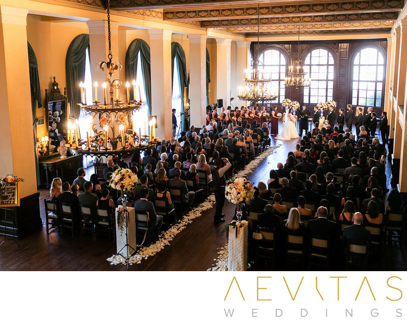 Elevated view of Ebell of Los Angeles wedding ceremony