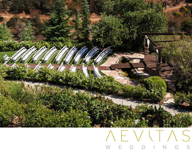 Elevated view of Serendipity Garden Weddings ceremony
