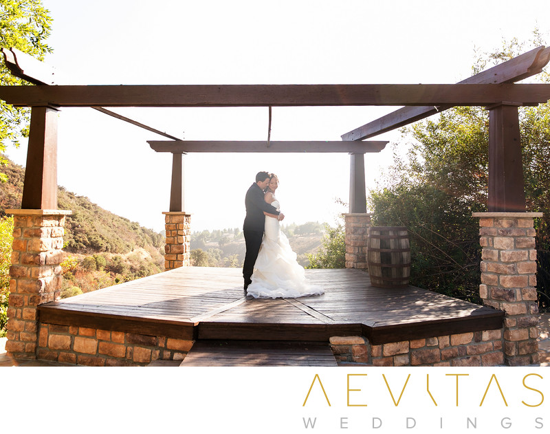 Couple portrait in pavilion San Bernardino Mountains