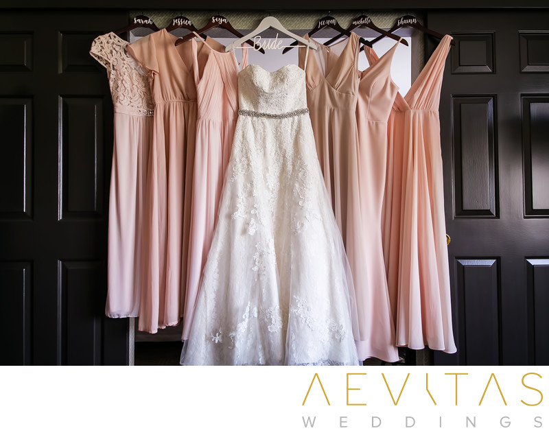 Wedding dress and bridesmaids' dresses in Pomona