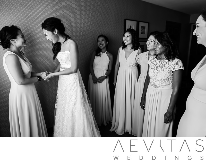 Black and white photo bride with bridesmaids in Pomona