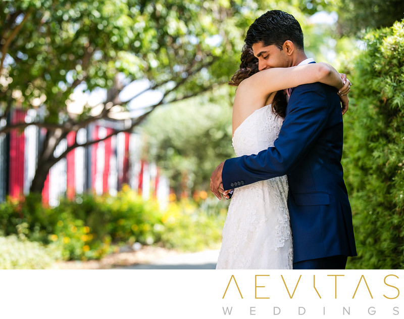 Couple embrace during Pomona first look session
