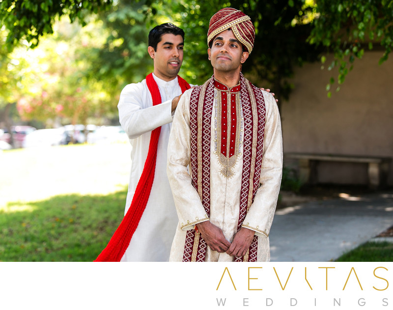 Indian groom getting ready with brother in Pomona