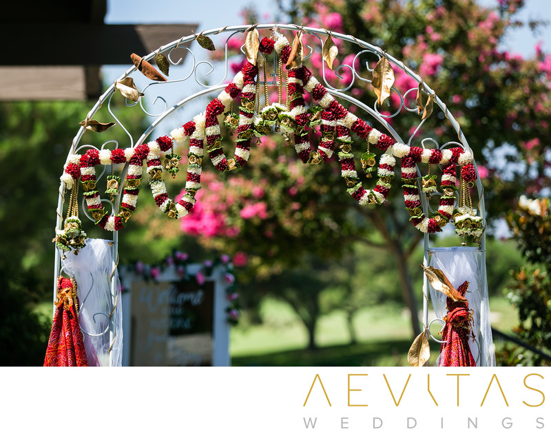 Indian wedding bridal arch details at Mountain Meadows