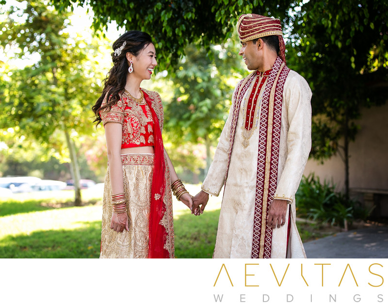 Couple reactions Indian wedding first look in Pomona