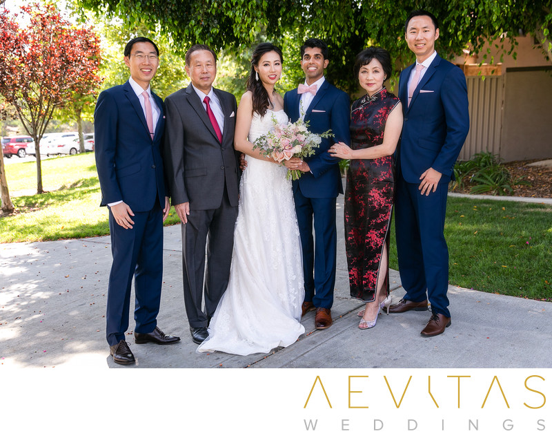 Couple with bride's family at Mountain Meadows, Pomona