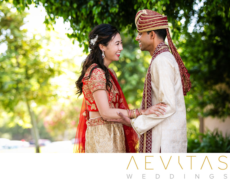 Couple embrace Indian wedding first look Pomona
