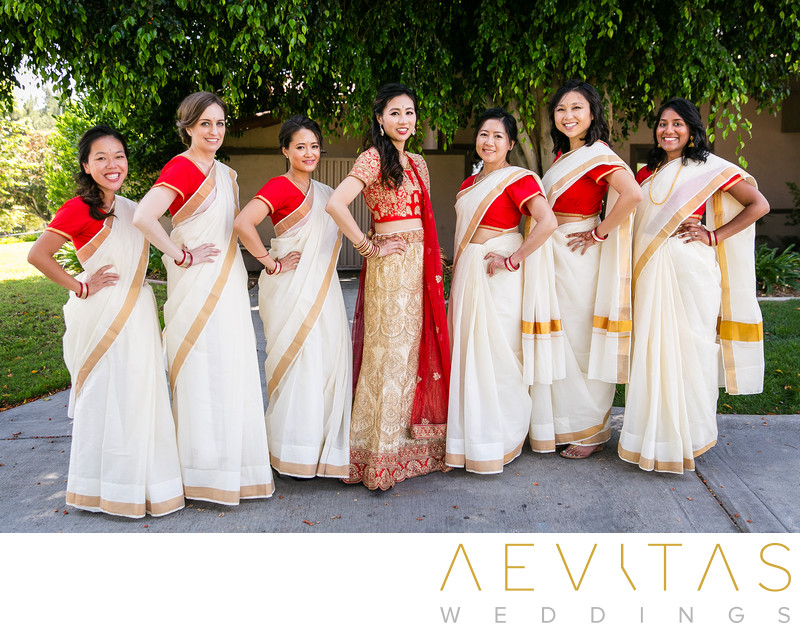 Bride and bridesmaids wearing saris at Pomona wedding