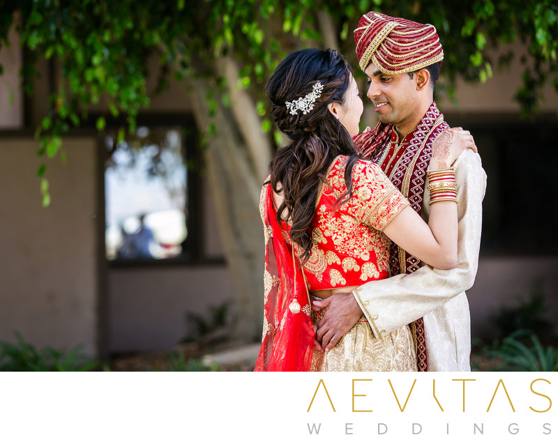 Romantic couple portrait Indian wedding in Pomona