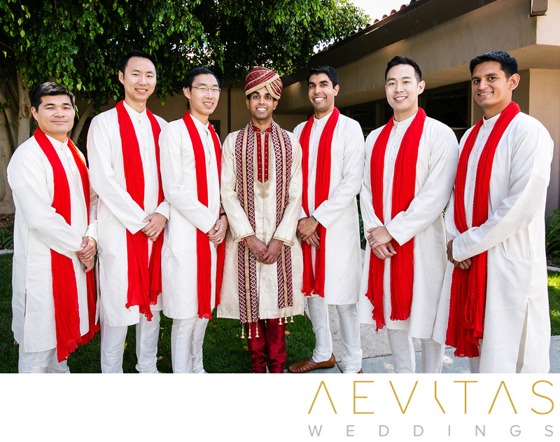 Groom and groomsmen portrait at Pomona Indian wedding