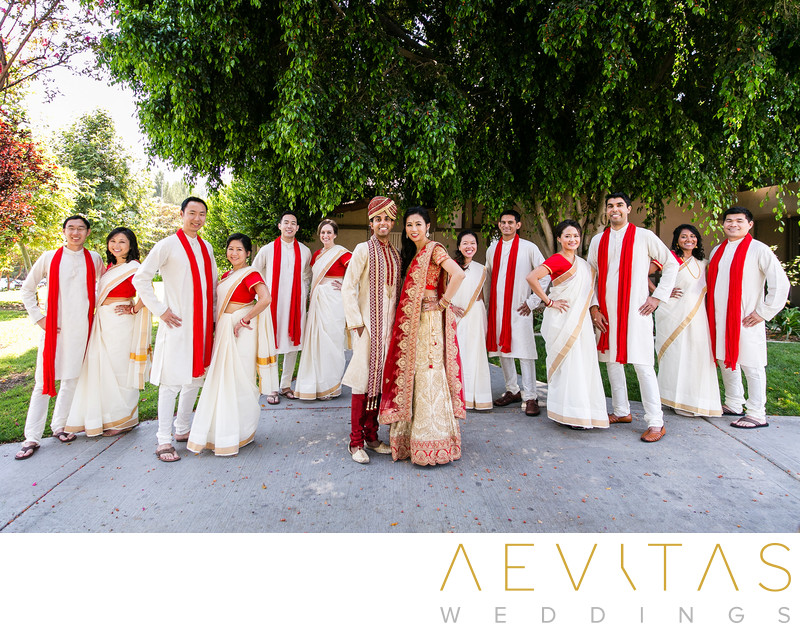 Bridal party portrait at Pomona Indian wedding