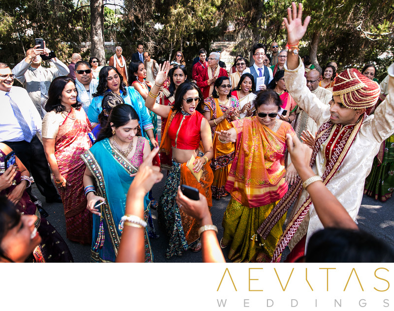 Elevated view of groom and family at Indian Baraat
